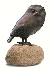 "Garden Property ""Owl on primary rocks"", copper"