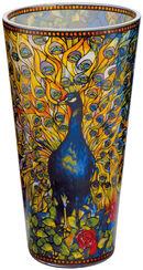 """Glasvase """"Pfau"""" mit Golddekor (kleine Version, Höhe 20 cm)"""