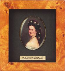 """Miniatur-Porzellanbild """"Kaiserin Elisabeth von Österreich-Ungarn"""" (1837-1898), gerahmt"""