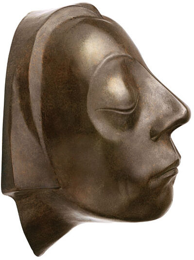 "Ernst Barlach: Wall object ""Head of the Gustrow Memorial"", reduction in bronze"