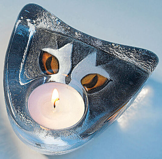 "Mats Jonasson: Glass tea candle holder ""Cat"""