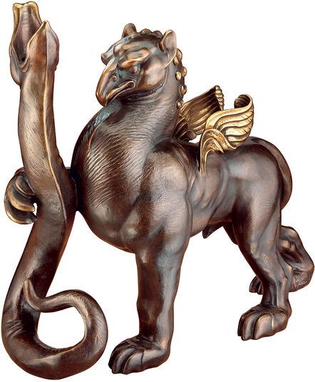 """Ernst Fuchs: Skulptur / Leuchter """"Greif und Schlange"""" (2006), Version in Bronze"""
