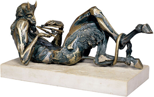 "Nikolay Anev: Sculpture ""Pan"", bronze on natural stone"