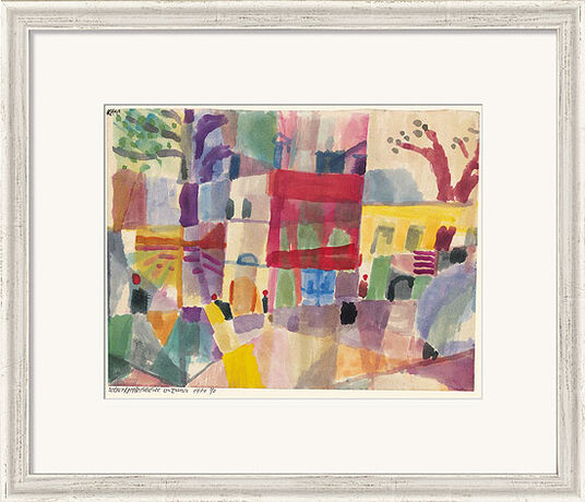 """Paul Klee: Bild """"Rote und gelbe Häuser in Tunis"""" (1914), gerahmt"""