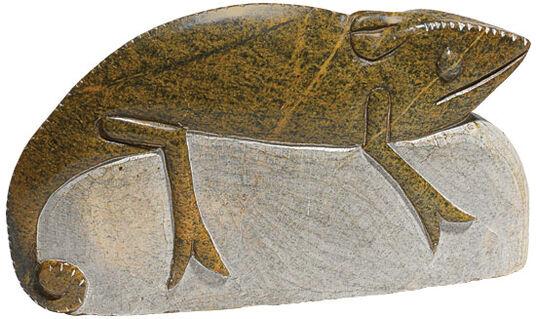 "Ngoni Gatsi: Garden sculpture  ""Chameleon"", Serpentine stone"