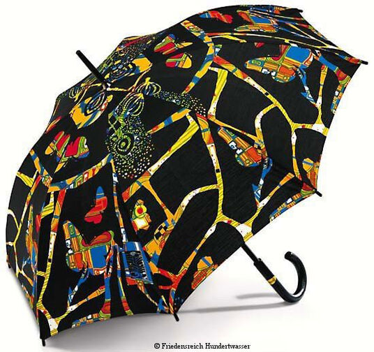 "Friedensreich Hundertwasser: Umbrella ""Dark bright colours"" (Umbrella ""Dunkelbunt"")"