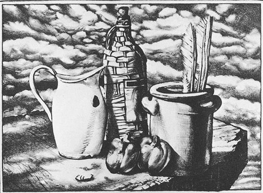 """Ernst Marow: Bild """"Stillleben mit Gänseflügel"""" (1981), ungerahmt"""