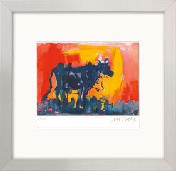 """Bild """"Die blaue Kuh im Abendlicht"""" (2016), gerahmt"""
