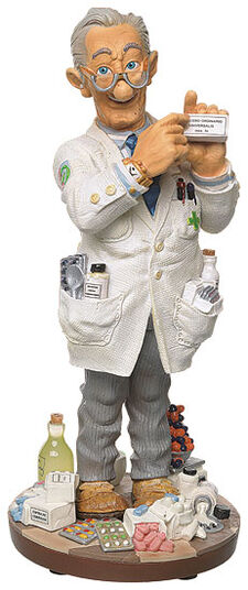 "Fons van Dommelen: Caricature ""The Pharmacist"", hand-painted, art castings"