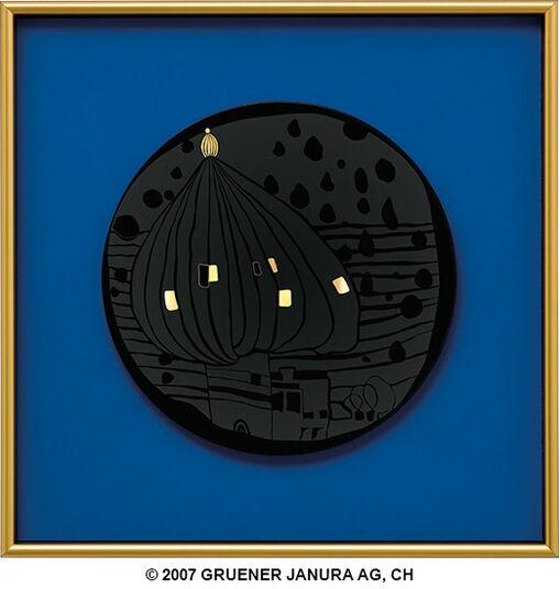 """Friedensreich Hundertwasser: (877) Wandteller """"Zwiebelregenturm"""", gerahmt"""