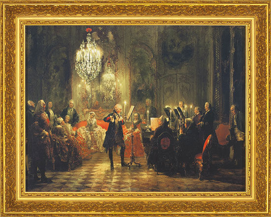 "Picture ""A Flute Concert of Frederick the Great"" (1852) in a frame"