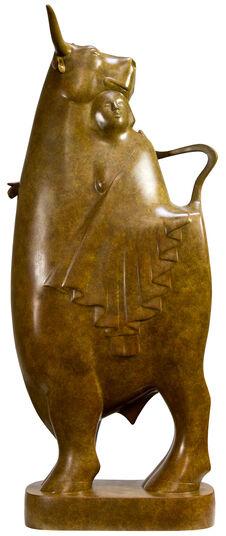 """Evert den Hartog: Skulptur """"Europa und der Stier Nr. 4"""", Bronze braun"""