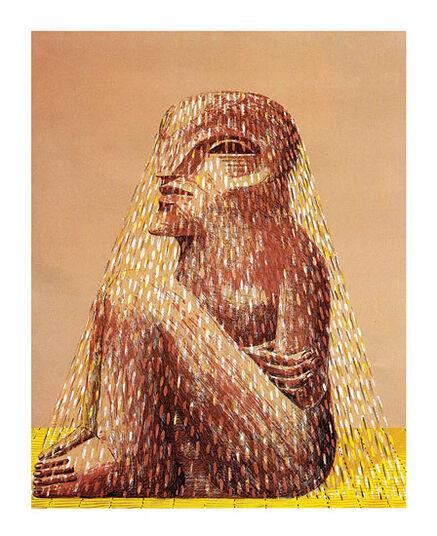 """Horst Antes: Bild """"Sitzende Figur mit Schleier"""" (1979), ungerahmt"""