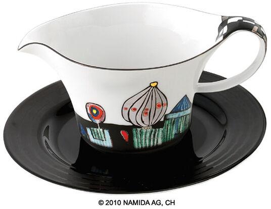"""Friedensreich Hundertwasser: Sauciere mit Unterteller """"Die Antipoden"""""""