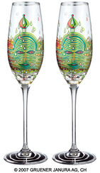 "(690) Sparkling wine glass ""Green Power"", 2 part set"