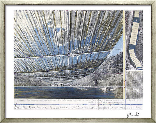 "Christo: Bild ""Over The River - Project Arkansas River from above"", gerahmt"