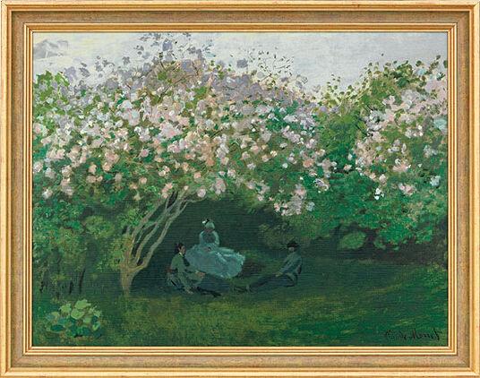 "Claude Monet: Bild ""Ruhe unterm Fliederbusch"", gerahmt"
