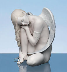 "Porcelain figure ""Sitting Angel"", hand-painted"