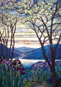 "Glass painting ""Magnolias and Irises"""
