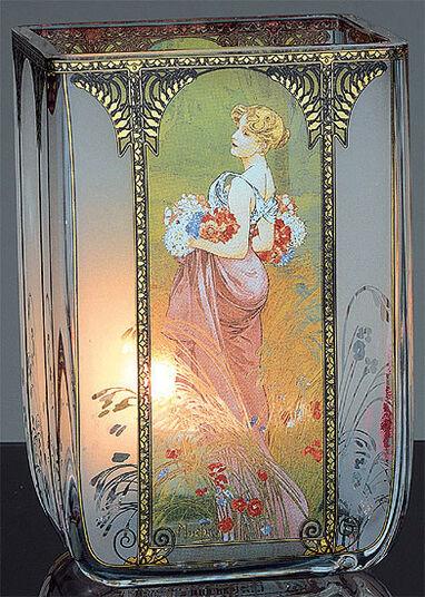 """Alphonse Mucha: Jugendstil-Teelicht """"Sommer"""", Glas"""