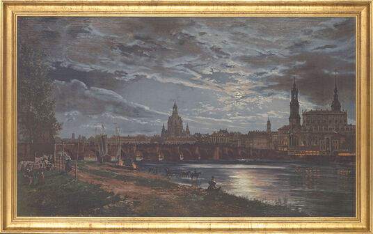 "Johan Christian Clausen Dahl: Painting ""View of Dresden on Full Moon"""