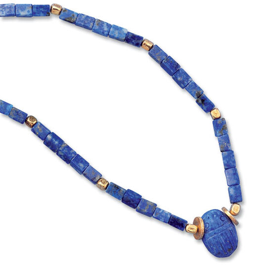 Petra Waszak: Scarab necklace of real lapis lazuli