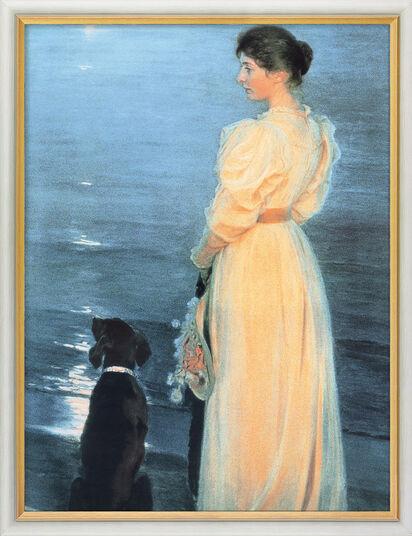 """Peder Severin Kroyer: Bild """"Sommerabend bei Skagen (Mondlicht am Meer)"""" (1892), gerahmt"""