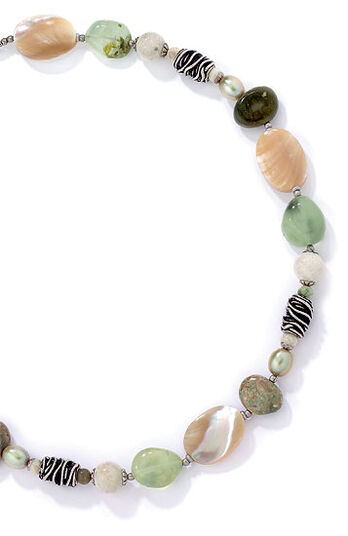 "Michal Golan: Natural stone necklace ""Moss Garden"""