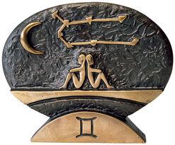 """Zodiac sign sculpture """"Gemini"""" (21.5.-21.6.), bronze"""