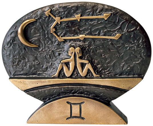 """Bernardo Esposto: Sternzeichen-Skulptur """"Zwillinge"""" (21.5.-21.6.), Bronze"""