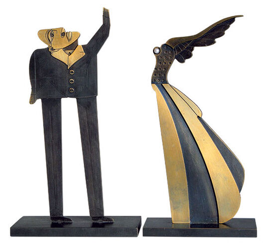 "Paul Wunderlich: Sculptural Group ""Flying Woman and Questioner"", Bronze"