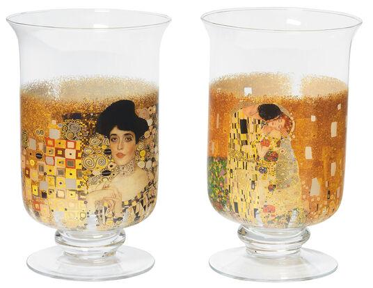 Gustav Klimt: 2 Windlichter / Vasen mit Künstlermotiven im Set