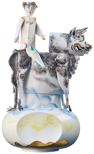 "Peter Strang: Sculpture ""Europa and the bull"", porcelain"