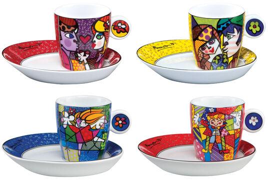 Romero Britto: 4er-Set Espressotassen mit Künstlermotiven