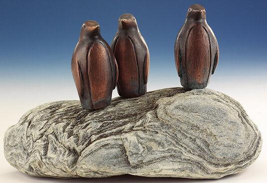 "Garden Sculpture ""Penguin colony,"" copper on stone"