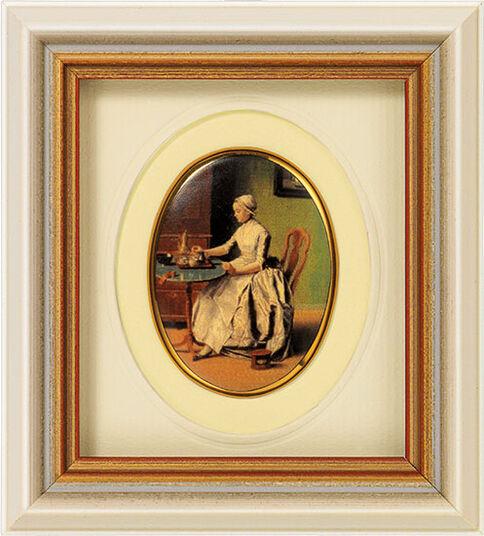 "Jean-Étienne Liotard: Miniatur-Porzellanbild ""Schokolade trinkende Dame"" (um 1744), gerahmt"