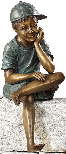 "Garden sculpture ""Sitting boy"", copper alloy"