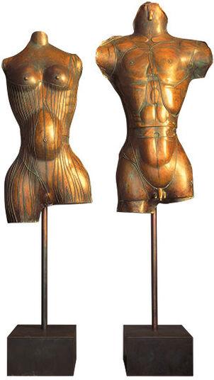 """Paul Wunderlich: Skulpturenpaar """"Adam und Eva"""", Bronze"""