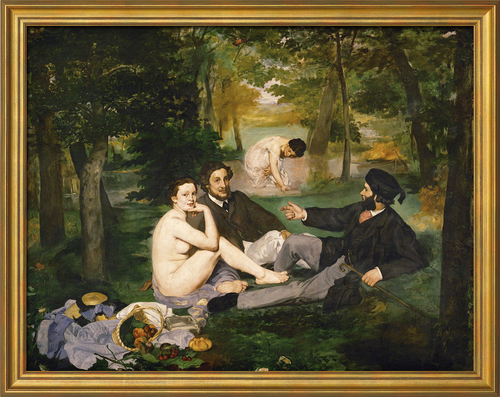 """Painting """"Le Déjeuner sur l'herbe"""" (The Luncheon on the Grass) in museum framing"""