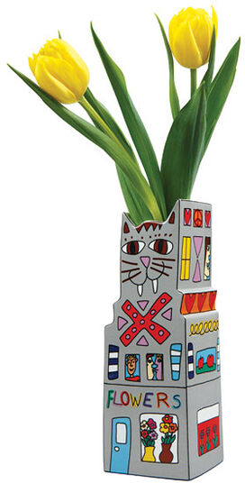 James Rizzi: Porcelain vase object 'Cats Flower' (without content)
