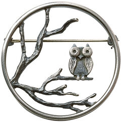 """The owl brooch"", 925 sterling silver"