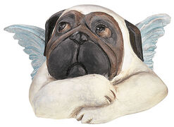 Sculpture 'Sistine Pug (with folded arms)', version in art casting