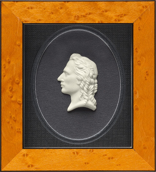 "Porcelain Painting ""Friedrich Schiller"", Framed"