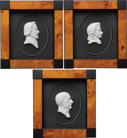 """3 Miniatur-Porzellanbilder """"Große Komponisten der Musikgeschichte"""" im Set"""
