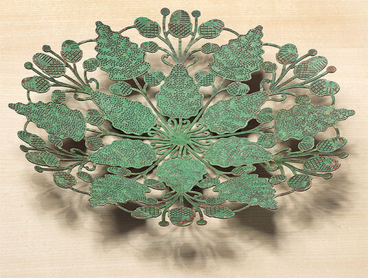 "Brass bowl ""Oak leaves work"""