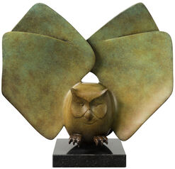 "Sculpture ""Landing Owl Nr. 6"", Green Bronze/Brown"