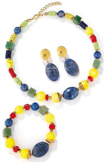 Petra Waszak: Jewelry set 'Blue Rider' with central lapis lazuli