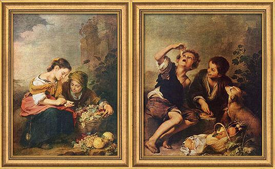 """Bartolomé E. Murillo: 2 Bilder """"Die kleine Obsthändlerin"""" + """"Die Pastetenesser"""" im Set"""