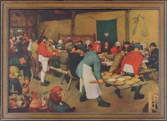 """Pieter Brueghel d. Ä.: Bild """"Bauernhochzeit"""" (1568), gerahmt"""