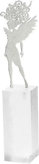 "DOS: Skulptur ""Schutzengel"", Edelstahl auf Sockel"